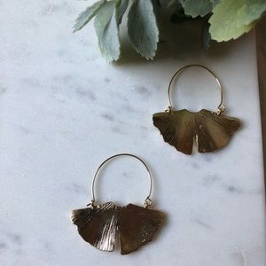 Jewelry - The Alma - Golden Leaf Crescent Earrings